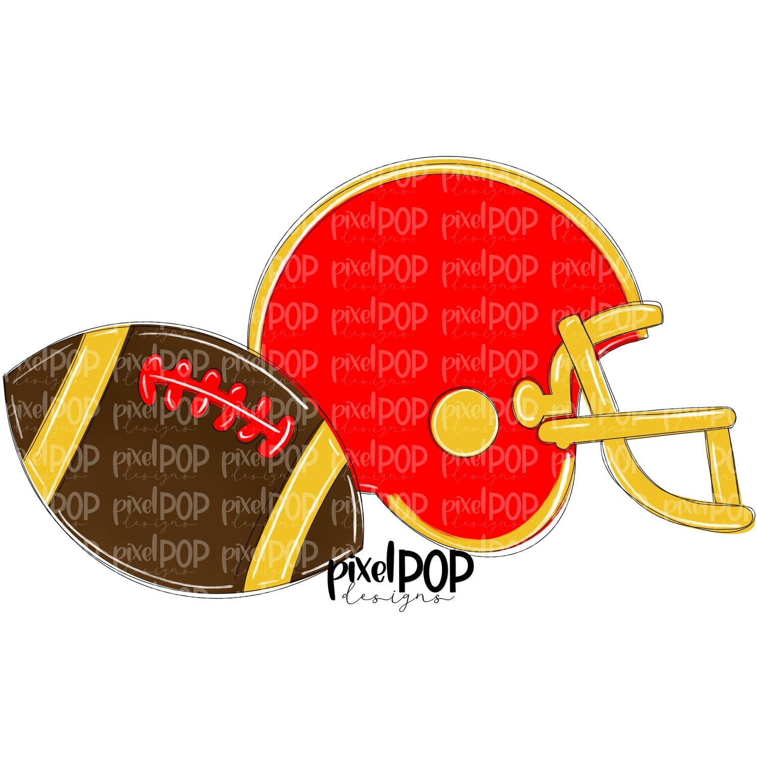 Football and Helmet Red and Yellow PNG | Football | Football Design | Football Art | Football Blank | Sports Art