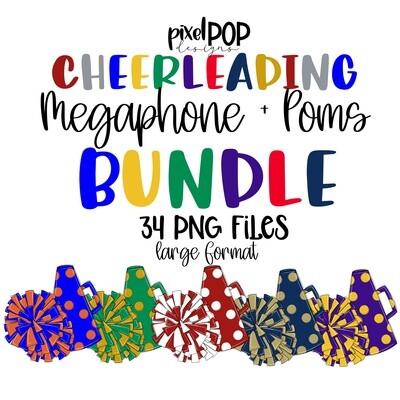 Cheerleader Megaphone + Poms Bundle - 38 PNGs
