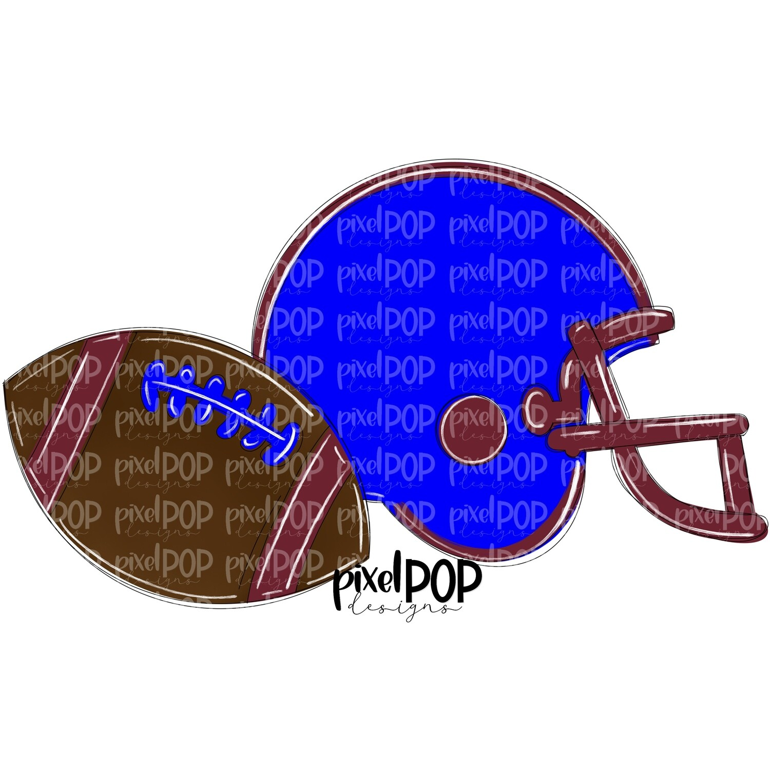 Football and Helmet Blue and Maroon PNG   Football   Football Design   Football Art   Football Blank   Sports Art