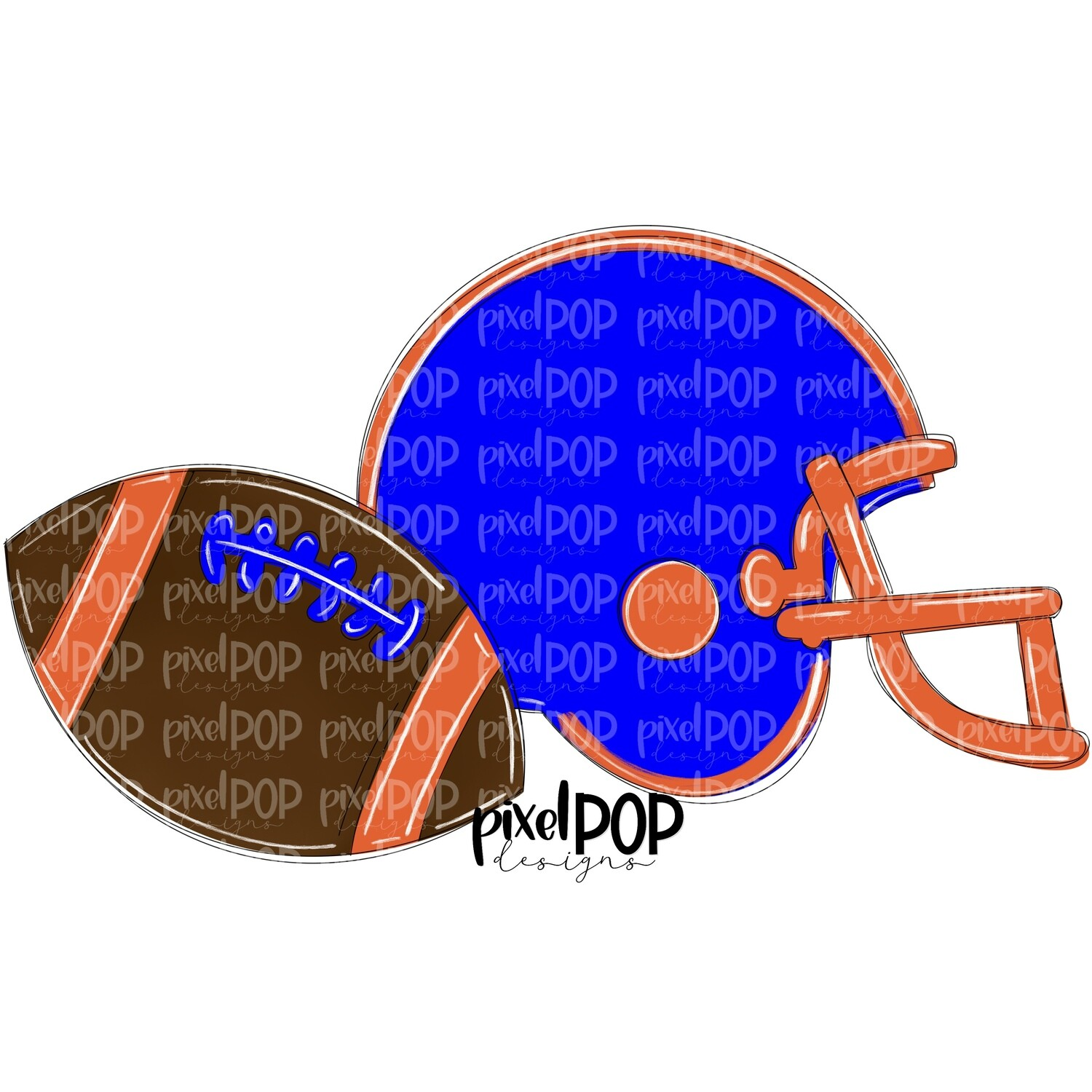 Football and Helmet Blue and Orange PNG   Football   Football Design   Football Art   Football Blank   Sports Art