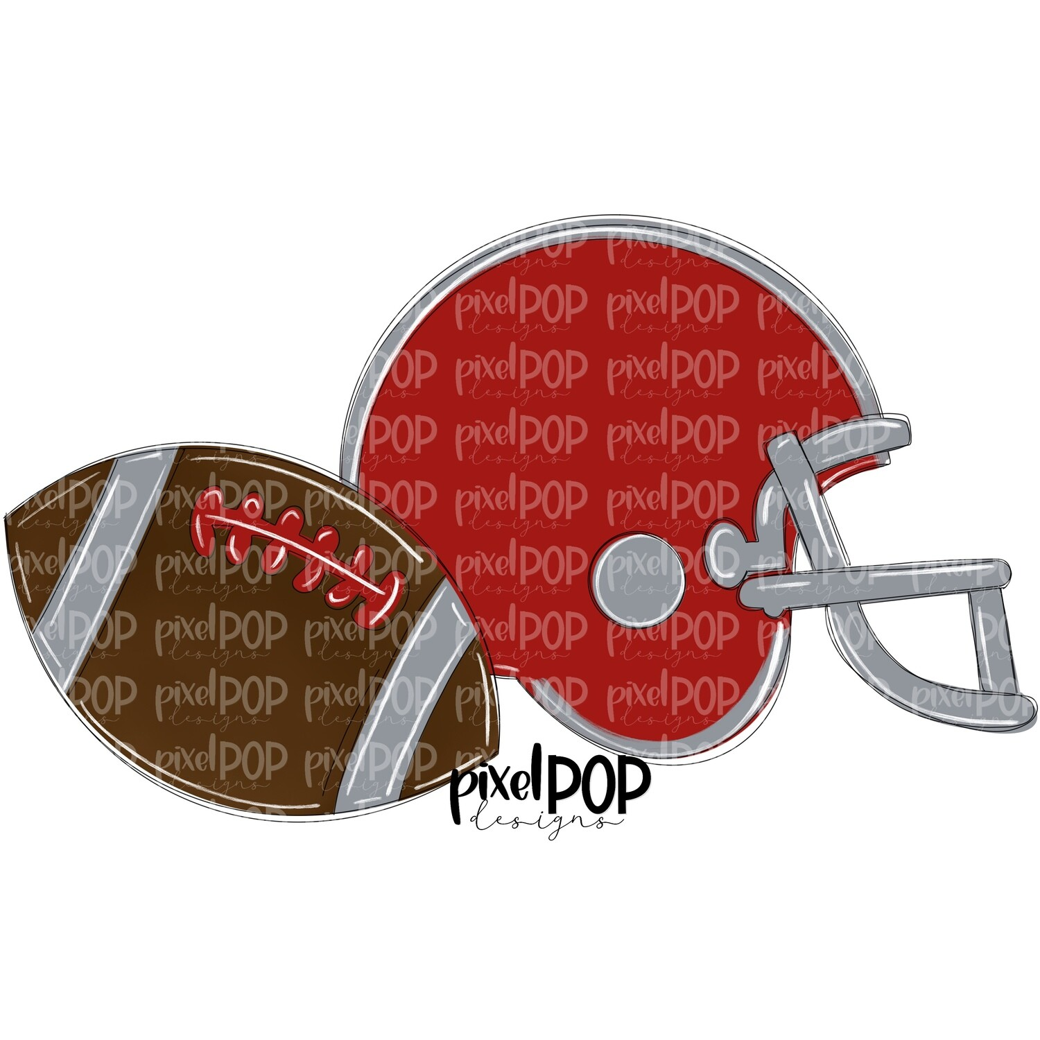 Football and Helmet Dark Red and Grey PNG | Football | Football Design | Football Art | Football Blank | Sports Art