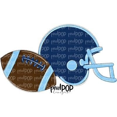 Football and Helmet Navy and Light Blue PNG   Football   Football Design   Football Art   Football Blank   Sports Art