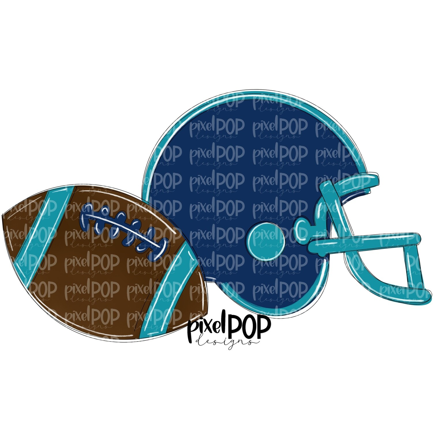 Football and Helmet Navy and Teal PNG | Football | Football Design | Football Art | Football Blank | Sports Art