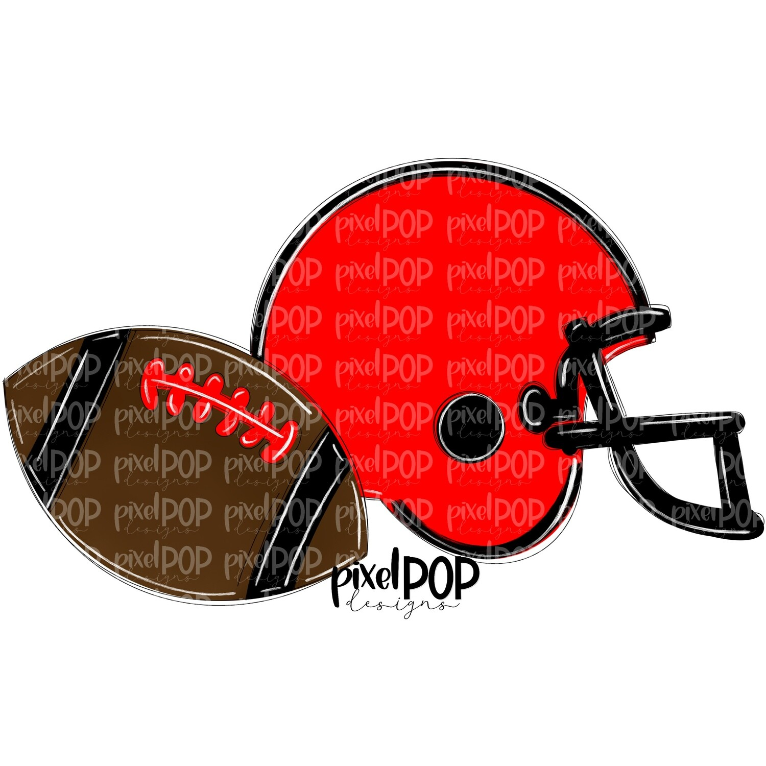 Football and Helmet Red and Black PNG | Football | Football Design | Football Art | Football Blank | Sports Art
