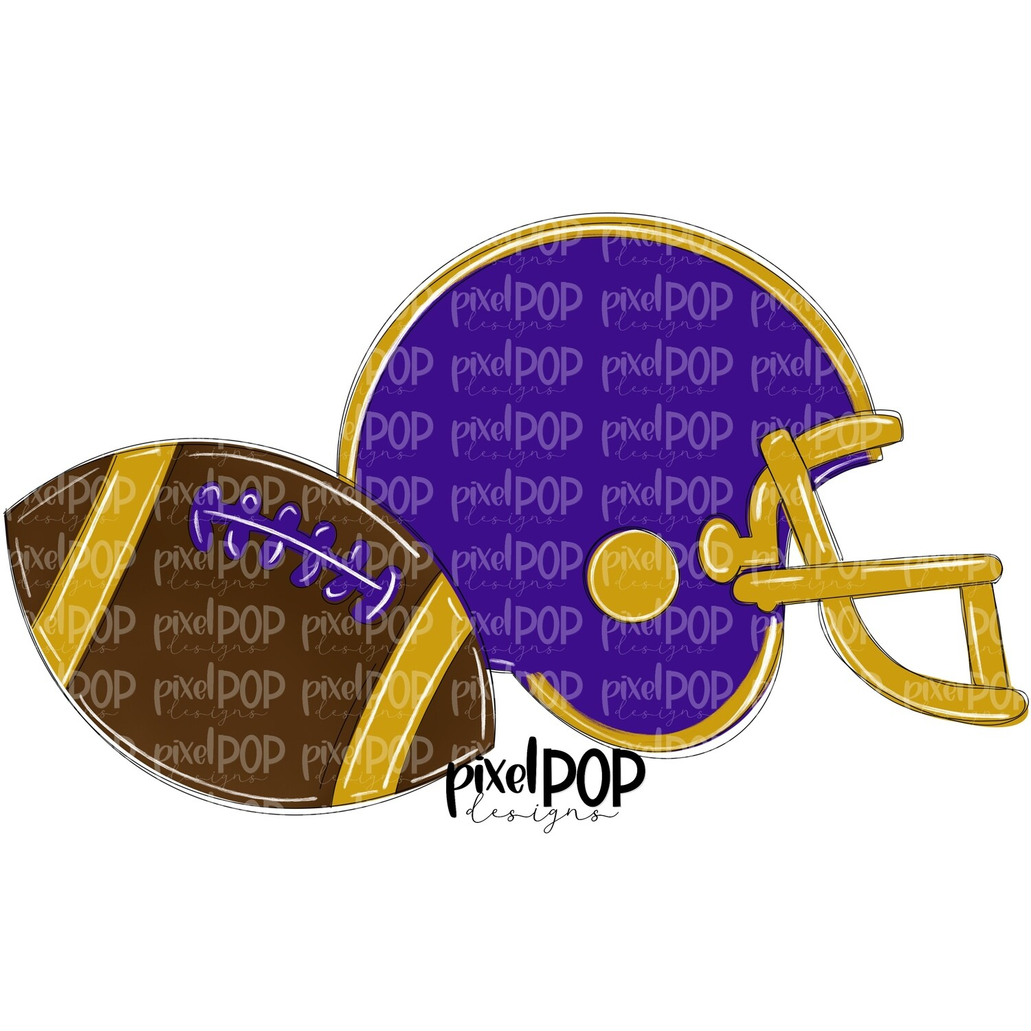 Football and Helmet Purple and Gold PNG | Football | Football Design | Football Art | Football Blank | Sports Art