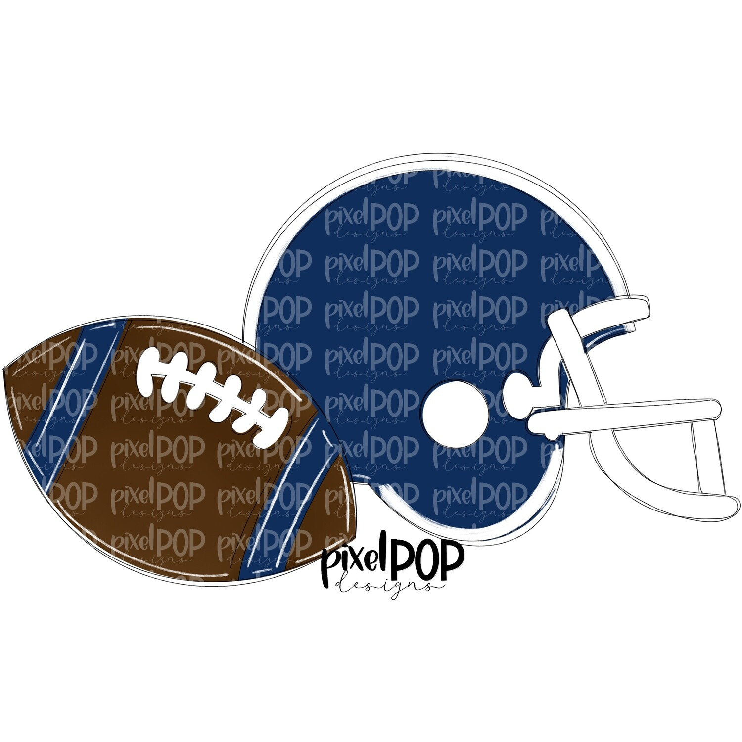 Football and Helmet Navy and White PNG | Football | Football Design | Football Art | Football Blank | Sports Art