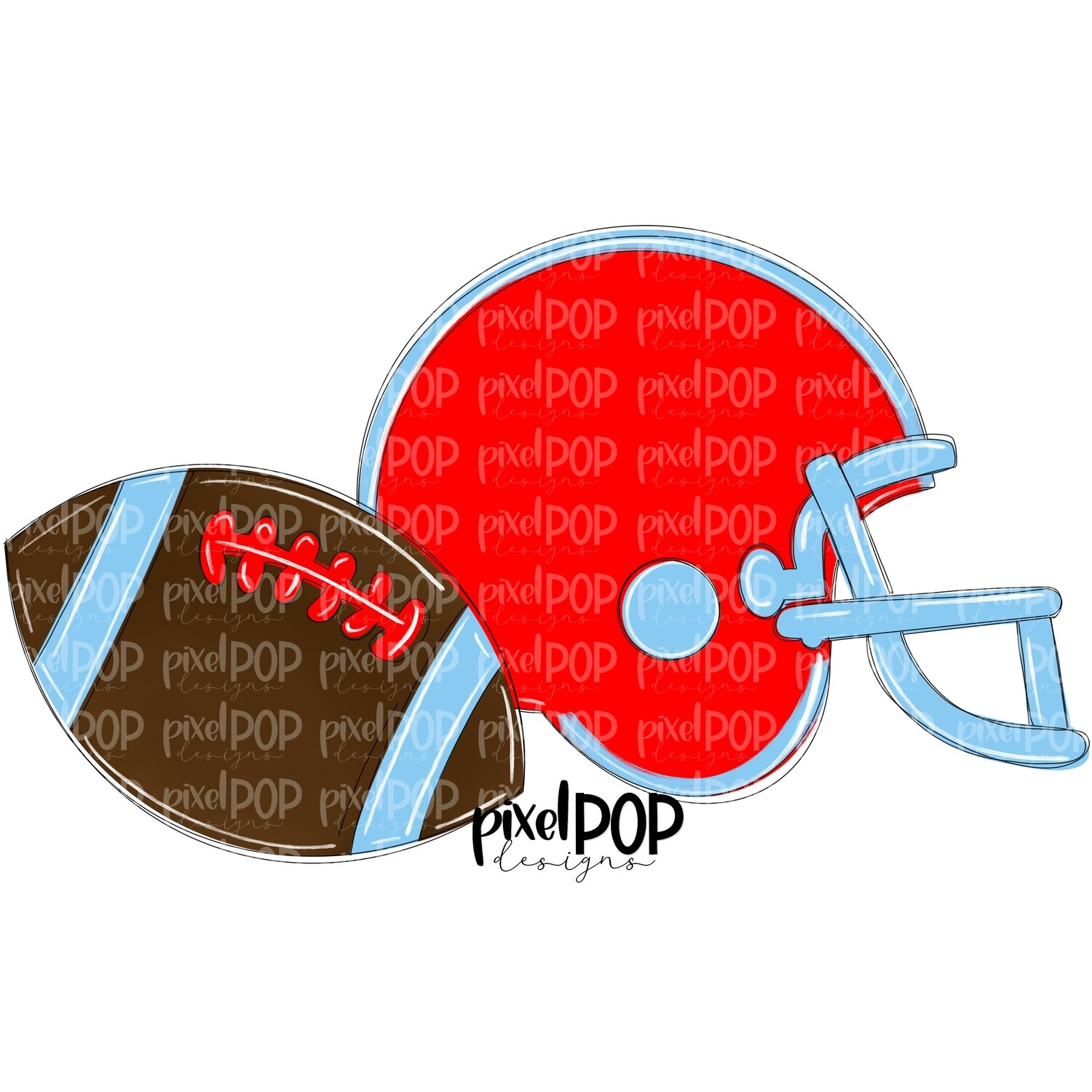 Football and Helmet Red and Light Blue PNG | Football | Football Design | Football Art | Football Blank | Sports Art