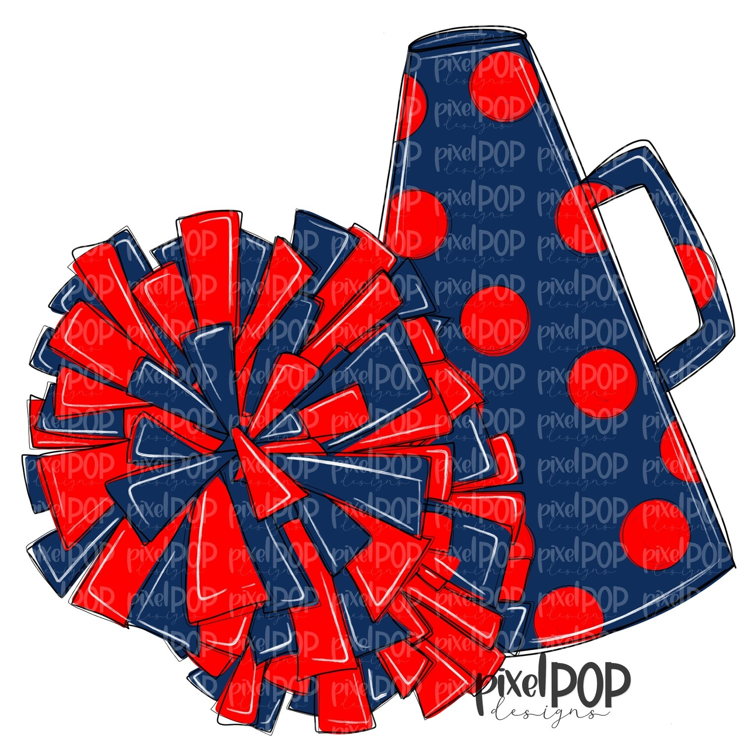 Cheerleading Megaphone and Poms Navy and PNG | Cheerleading | Cheer Design | Cheer Art | Cheer Blank | Sports Art