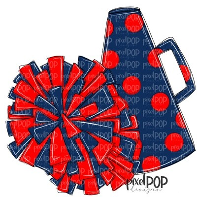 Cheerleading Megaphone and Poms Navy and PNG   Cheerleading   Cheer Design   Cheer Art   Cheer Blank   Sports Art