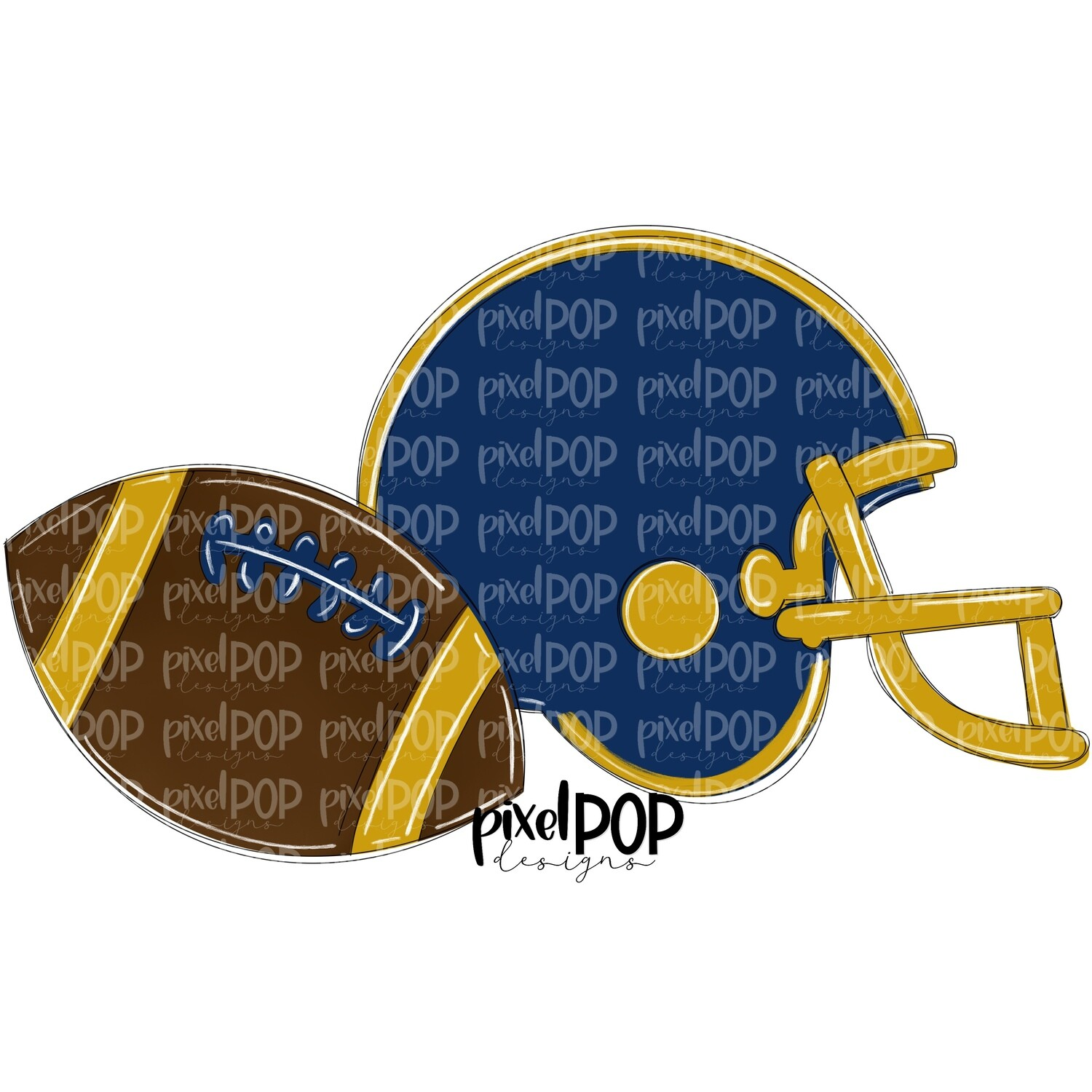 Football and Helmet Navy and Gold PNG | Football | Football Design | Football Art | Football Blank | Sports Art