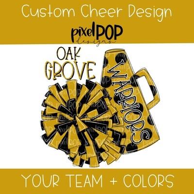 Custom School Cheer Megaphone/Poms Image Request