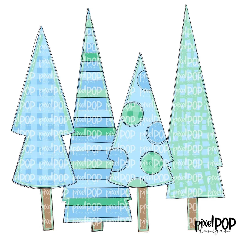Christmas Trees Quad Light Blue & Green PNG   Christmas Design   Hand Painted Art   Sublimation PNG   Digital Download   Printable Artwork
