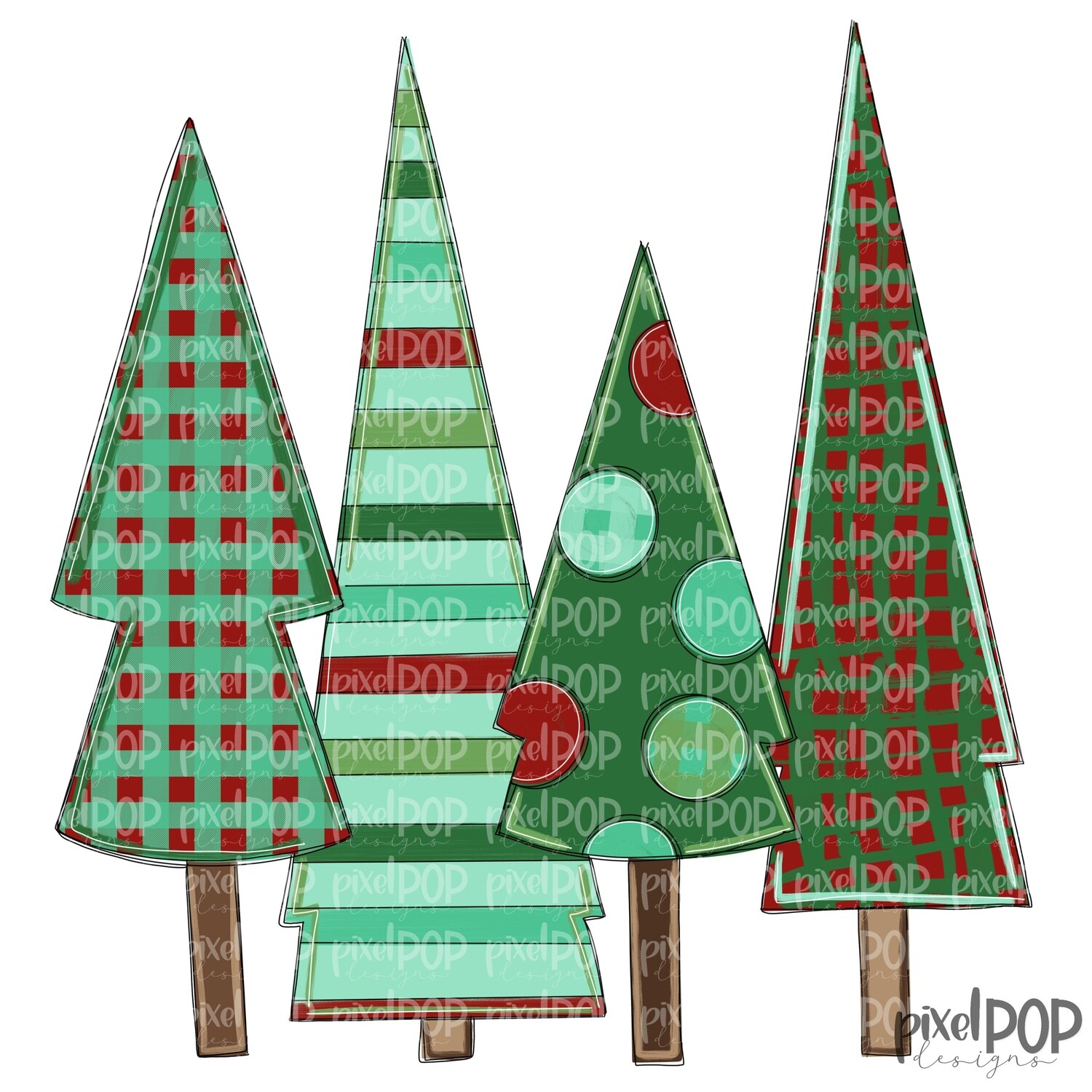 Christmas Trees Quad Light Red & Green PNG   Christmas Design   Hand Painted Art   Sublimation PNG   Digital Download   Printable Artwork