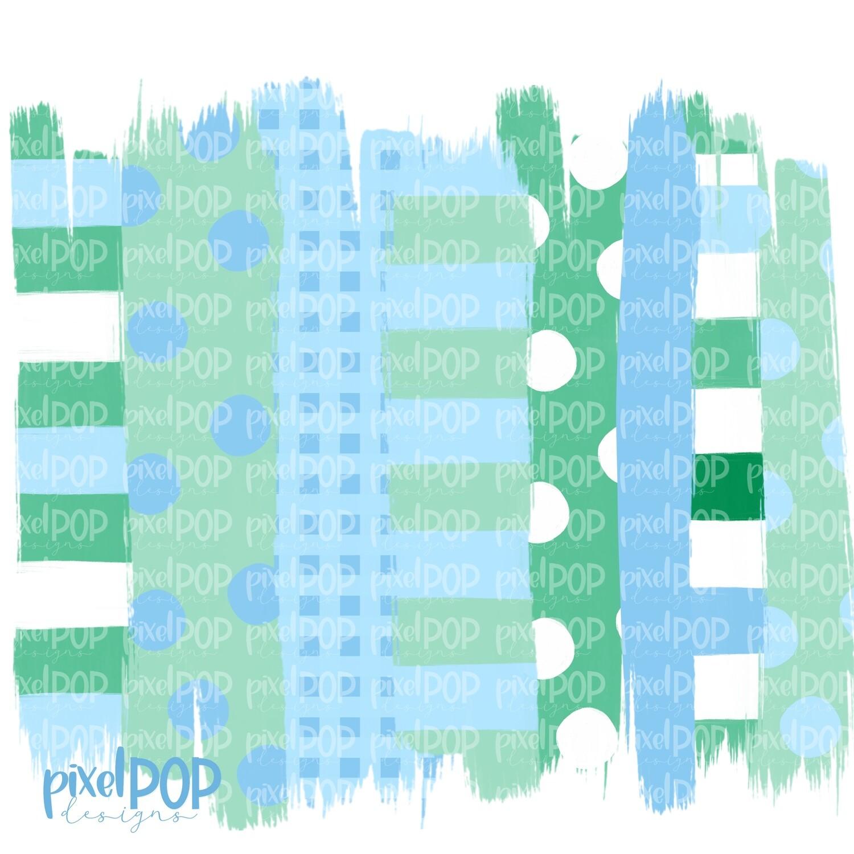 Light Blue and Green Stripe Polka Dot Brush Stroke Background PNG | Pastel Boy Colors | Transfer | Digital Print | Printable | Clip Art