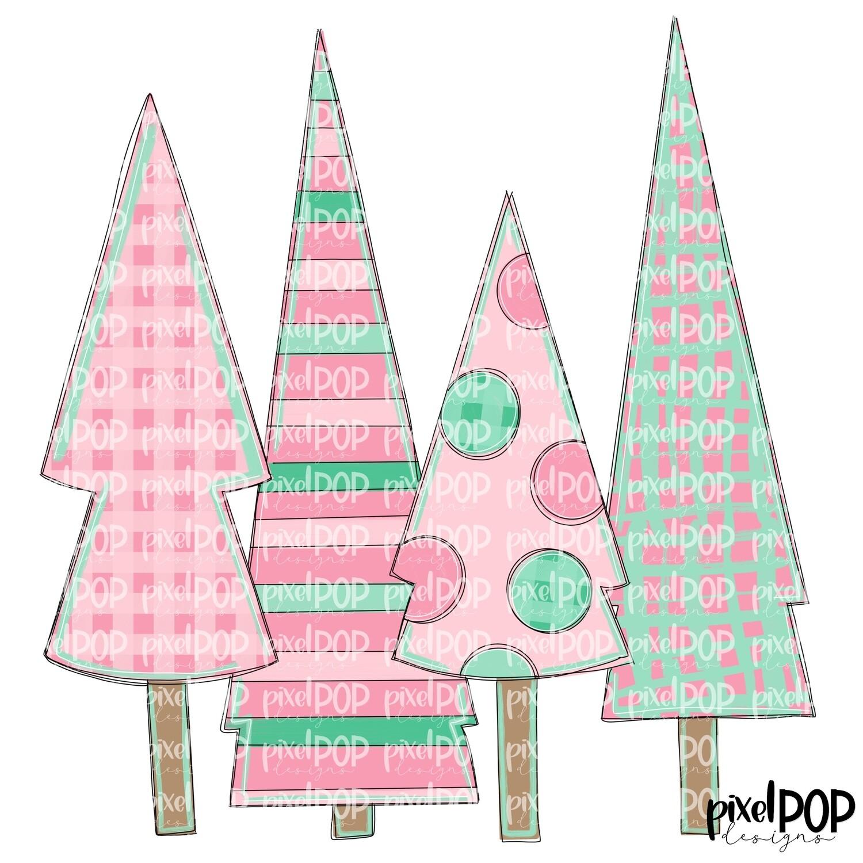 Christmas Trees Quad Light Pink & Green PNG | Christmas Design | Hand Painted Art | Sublimation PNG | Digital Download | Printable Artwork