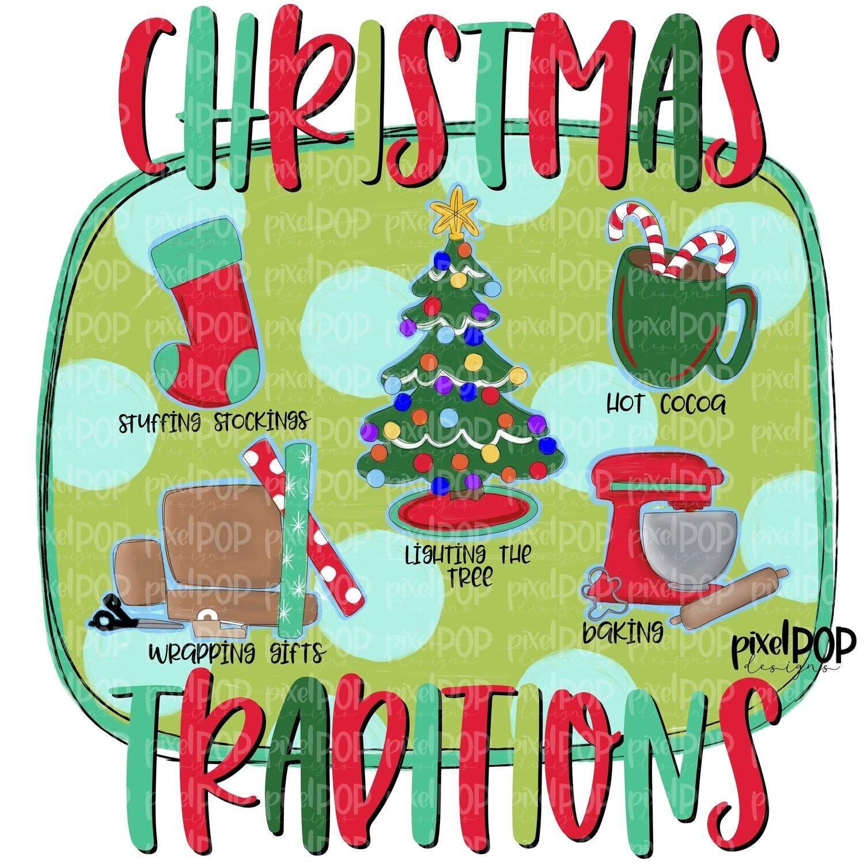 Christmas Traditions PNG   Watercolor Santa   Christmas PNG   Art   Gift Wrapping   Hot Cocoa   Sublimation PNG   Digital Download