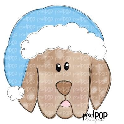 Christmas Puppy Boy Light Blue PNG | Dog Art | Hand Painted | Dog Digital Art | Sublimation PNG | Digital Download | Printable Art | Clipart
