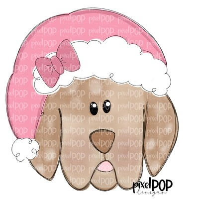 Christmas Puppy Boy Light Pink PNG | Dog Art | Hand Painted | Dog Digital Art | Sublimation PNG | Digital Download | Printable Art | Clipart