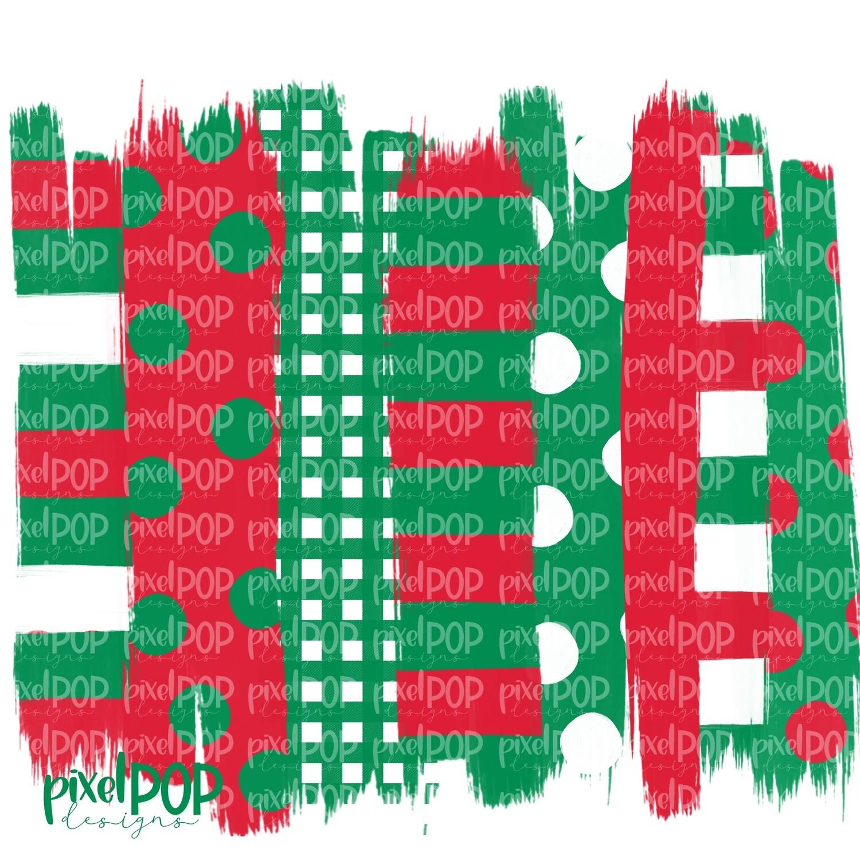Christmas Green Red Stripe Polka Dot Brush Stroke Background PNG | Christmas Background | Transfer | Digital Print | Printable | Clip Art