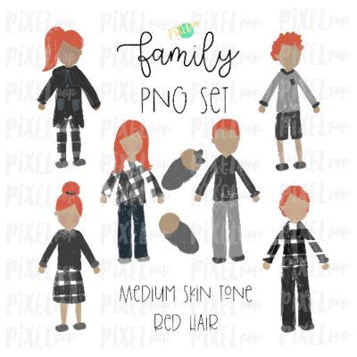 Medium Skin Red Hair Stick People Figure Family Members PNG Sublimation | Family Ornament | Family Portrait Images | Digital Portrait | Art