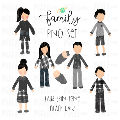 Fair Skin Black Hair Stick People Figure Family Members PNG Sublimation | Family Ornament | Family Portrait Images | Digital Download