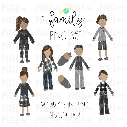 Medium Skin Brown Hair Stick People Figure Family Members PNG Sublimation   Family Ornament   Family Portrait Images   Digital Download