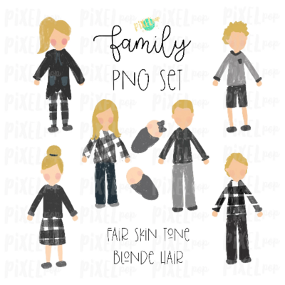 Fair Skin Blonde Hair Stick People Figure Family Members PNG Sublimation | Family Ornament | Family Portrait Images | Digital Download