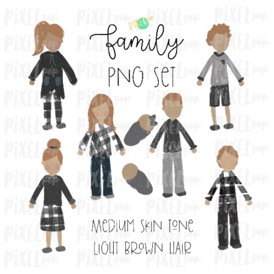 Medium Skin Light Brown Dirty Blonde Hair Stick People Figure Family Members PNG Sublimation | Family Ornament | Family Portrait Images