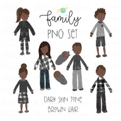 Dark Skin Brown Hair Stick People Figure Family Members PNG Sublimation | Family Ornament | Family Portrait Images | Digital Portrait | Art