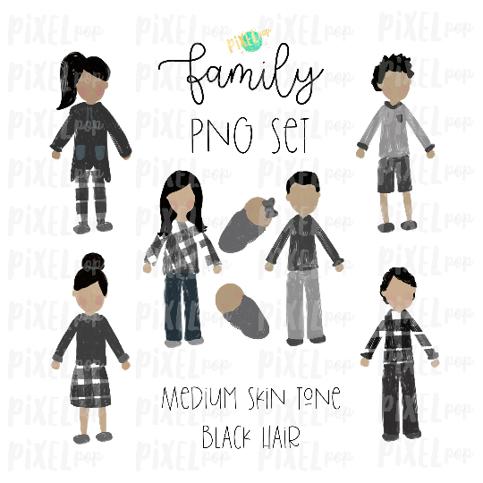 Medium Skin Black Hair Stick People Figure Family Members PNG Sublimation   Family Ornament   Family Portrait Images   Digital Download