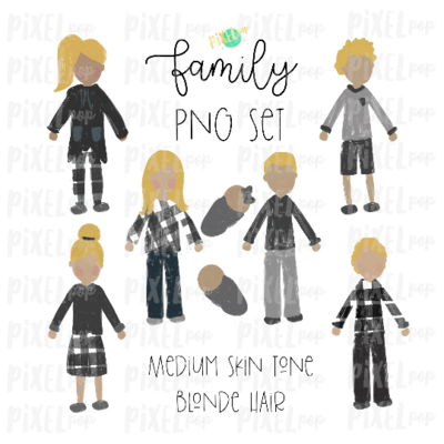 Medium Skin Blonde Hair Stick People Figure Family Members PNG Sublimation | Family Ornament | Family Portrait Images | Digital Download