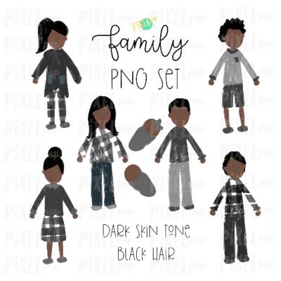 Dark Skin Black Hair Stick People Figure Family Members PNG Sublimation | Family Ornament | Family Portrait Images | Digital Portrait | Art
