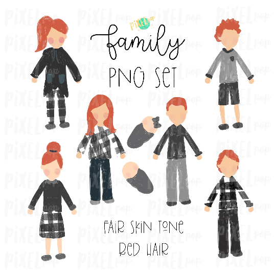 Fair Skin Red Hair Stick People Figure Family Members PNG Sublimation   Family Ornament   Family Portrait Images   Digital Portrait   Art