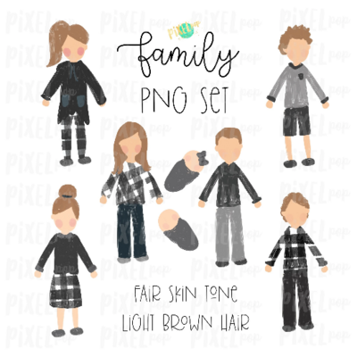 Fair Skin Light Brown Dirty Blonde Hair Stick People Figure Family Members PNG Sublimation | Family Ornament | Family Portrait Images