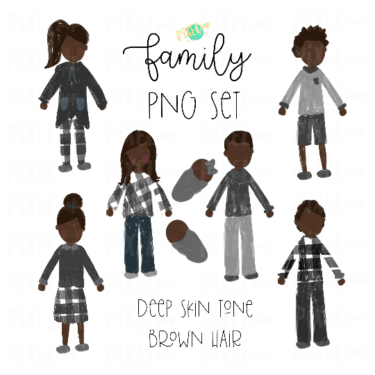 Deep Skin Brown Hair Stick People Figure Family Members PNG Sublimation   Family Ornament   Family Digital Portrait Images   Digital Art
