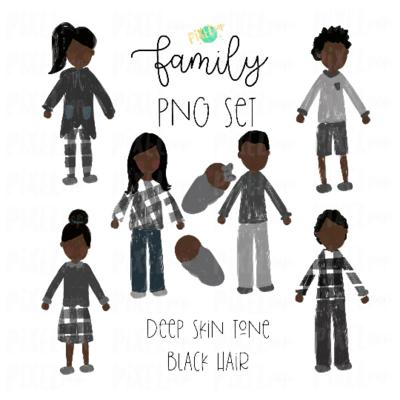 Deep Skin Black Hair Stick People Figure Family Members PNG Sublimation | Family Ornament | Family Digital Portrait Images | Digital Art