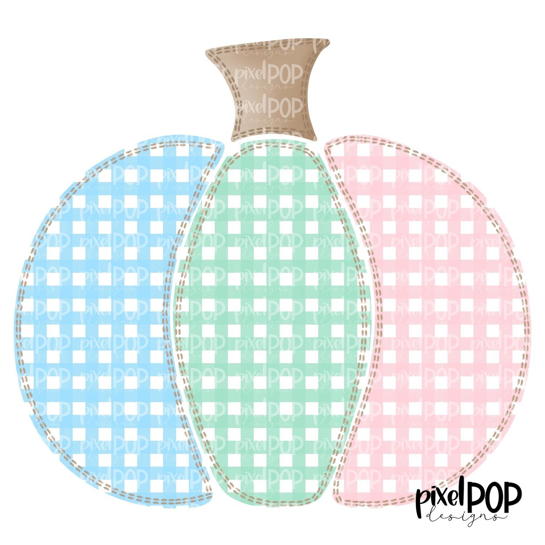 Sweet Faux Stitched Pumpkin Blue Mint Pink PNG | Pumpkin Art | Pumpkin PNG Design | Hand Painted Design | Fall | Fall Design | Fall Art