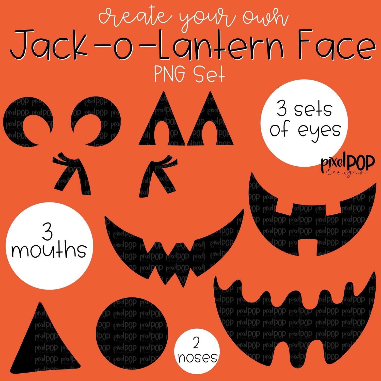 Create Your Own Jack-o-Lantern PNG Set   Halloween Digital   Digital Design   Sublimation PNG   Digital Download   Printable Artwork   Art