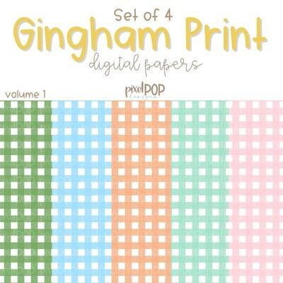 Micro Gingham Digital Paper Set of Five Volume 1 PNG   Hand Painted Art   Sublimation PNG   Digital Download   Digital Scrapbooking Paper