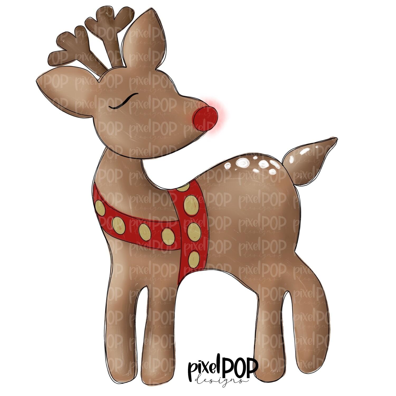 Sweet Rudolph PNG | Christmas Digital | Reindeer Design | Santa's Sleigh | Christmas Reindeer Art | Digital Download | Printable Artwork