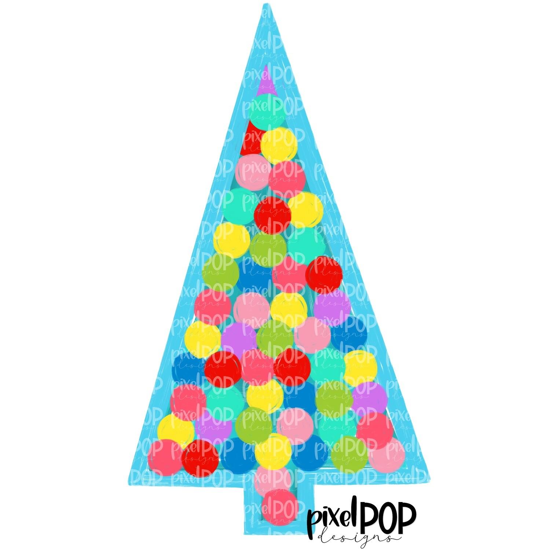 Twinkling Tree Blue PNG   Christmas Tree   Christmas Art Hand Drawn Design   Sublimation PNG   Digital Download   Printable Artwork   Art
