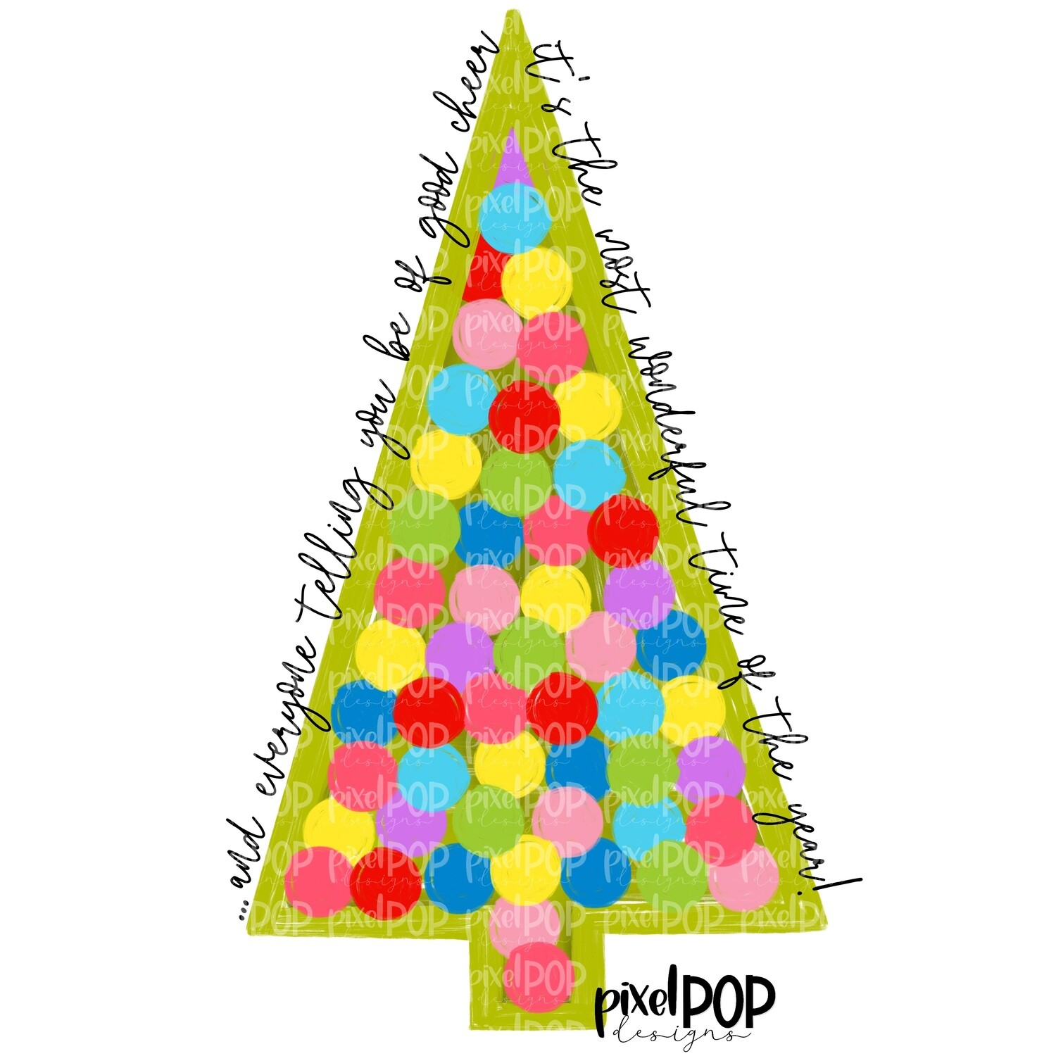 The Most Wonderful Time of the Year Tree PNG | Christmas Hand Drawn Design | Sublimation Design | Digital Download | Christmas Art | ClipArt