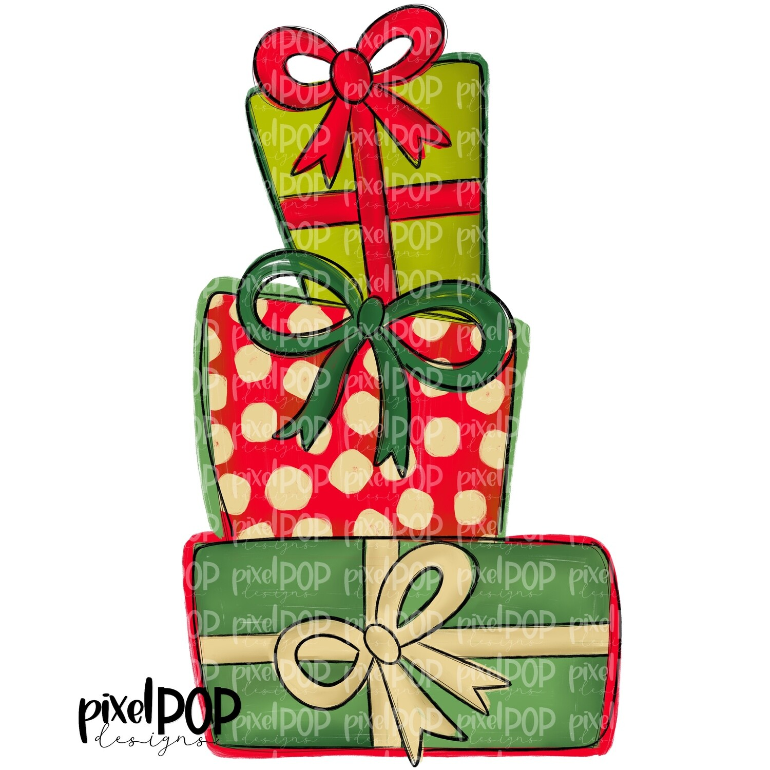 Stacked Christmas Presents PNG | Wrapped Gifts | Gift Wrap Hand Drawn Design | Sublimation PNG | Digital Download | Printable Artwork | Art