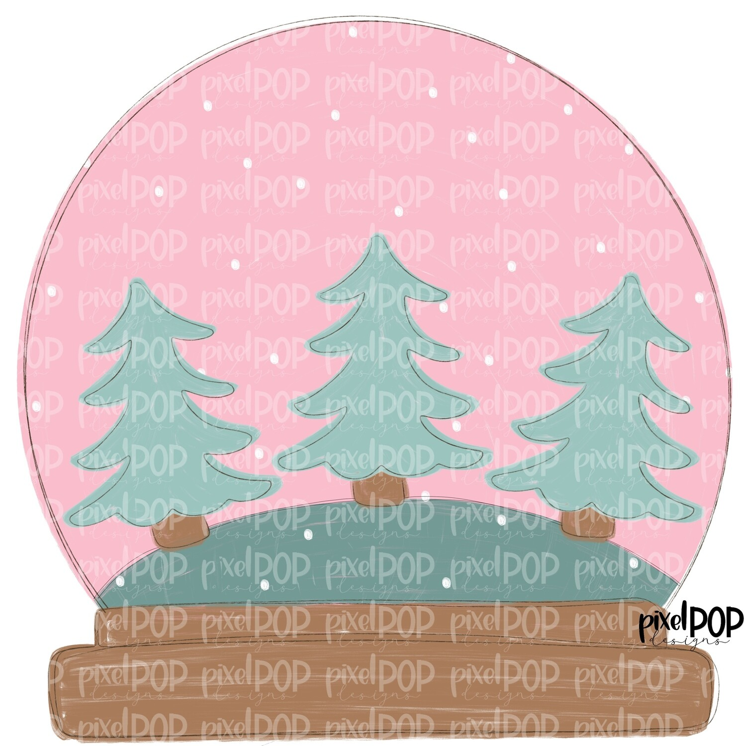Winter Snow Globe with Trees Pink PNG | Christmas Tree Design | Hand Painted Design | Sublimation PNG | Digital Download | Printable Artwork