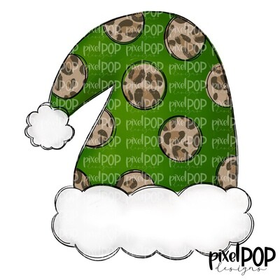 Santa Hat Green Leopard PNG | Christmas Sublimation | Santa Hat | Santa Clip Art | Christmas | Digital Download | Printable Artwork | Art