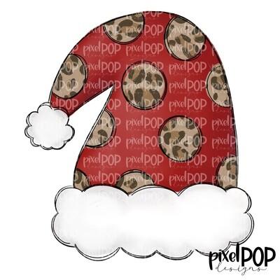 Santa Hat Red Leopard PNG | Christmas Sublimation | Santa Hat | Santa Clip Art | Christmas | Digital Download | Printable Artwork | Art