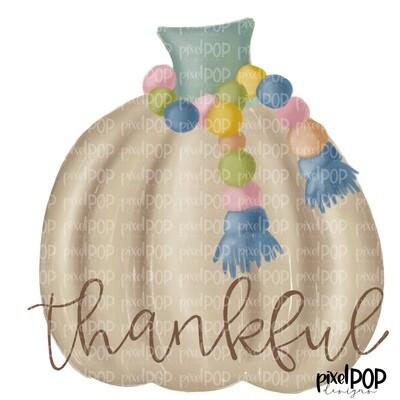 Tan Pumpkin with Tassel Thankful PNG | Pumpkin | Neutral Pumpkin | Hand Drawn Digital Sublimation | Digital Art | Printable Artwork | Art