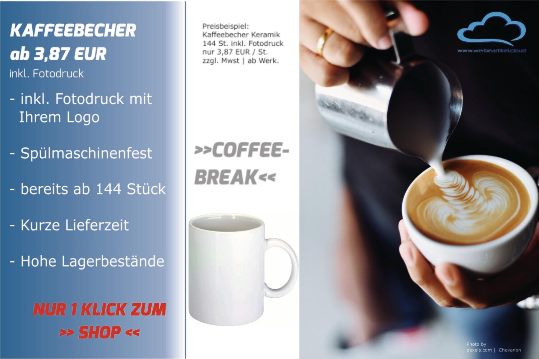 Kaffeebecher Classic - inklusive Fotodruck ab 144 Stück