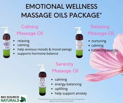 Emotional Wellness Massage Oil Package, each 8 fl oz (227 ml) (3 Pack)