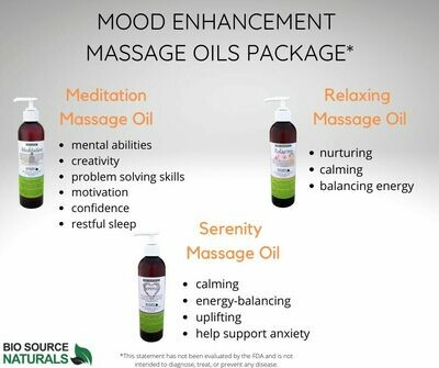 Mood Enhancement Massage Oils Package, each 8 fl oz (227 ml) (3 Pack)